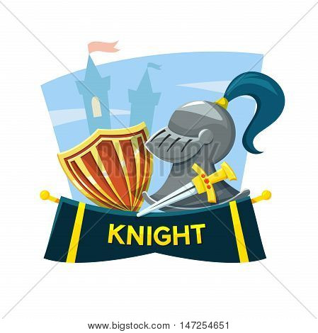Chivalry concept design with the attributes of the knight and the castle in the background, vector illustration