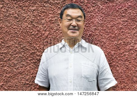 Japanese Man Smiling Lifestyle Protrait Concept