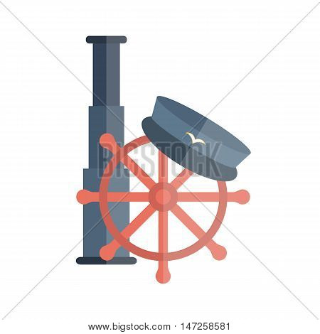 Vector illustration with flat cartoon lighthouse captain hat ship wheel. Cartoon background for cruise company design or travel vacation logo. Nautical yachting illustration. Flat cruise design