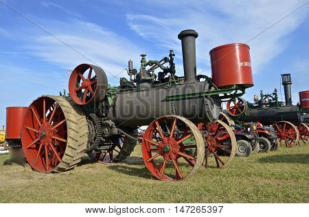 ROLLAG, MINNESOTA, Sept 1. 2016: The Minneapolis steam engine is a featured line of farm equipment at the West Central Steam Threshers Reunion in Rollag, MN attended by 1000's held annually on Labor Day weekend.