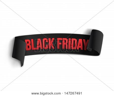 Illustration of Black Friday Sale Curved Ribbon Banner Template. Realistic Folded Paper Ribbon Big Sale Banner Black Icon Isolated on White Background
