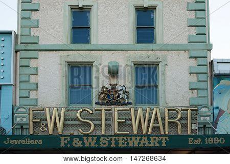 Launceston Australia-February 2 2012. FW Stewart jewellery store established 1880 Launceston Tasmania