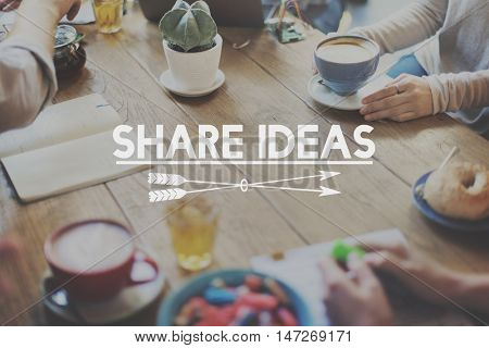 Share Ideas Brainstorming Sharing Exchange Solution Concept