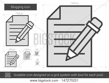 Blogging vector line icon isolated on white background. Blogging line icon for infographic, website or app. Scalable icon designed on a grid system.