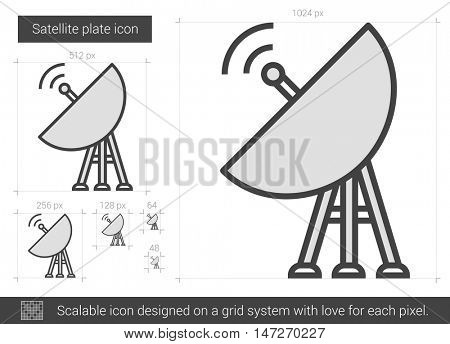 Satellite plate vector line icon isolated on white background. Satellite plate line icon for infographic, website or app. Scalable icon designed on a grid system.