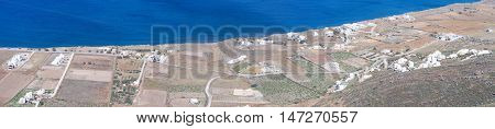 Landscape of coast with farm of Santorini island at the Cyclades in Greece