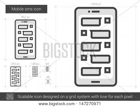 Mobile sms vector line icon isolated on white background. Mobile sms line icon for infographic, website or app. Scalable icon designed on a grid system.