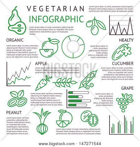 black and green vegetarian organic food infographic