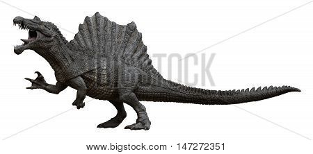 3D rendering of Spinosaurus aegyptiacus in an aggressive stance, isolated on white background.