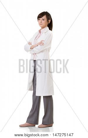 Asian doctor woman, full length portrait isolated on white background.