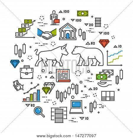 Vector line concept stock exchange. Linear symbol commodity exchange. Modern banner stock market.