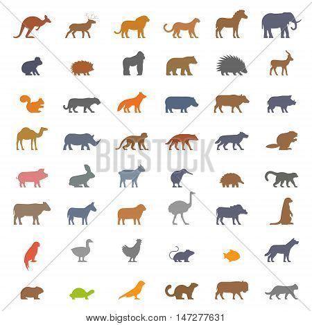 Vector set figures of domestic farm and wild animals isolated on white background. Black silhouettes kangaroos deer lion leopard horse elephant koala and others.