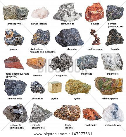 Collection From Raw Minerals And Ores With Names