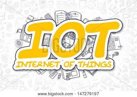 Business Illustration of IOT - Internet Of Things. Doodle Yellow Inscription Hand Drawn Cartoon Design Elements. IOT - Internet Of Things Concept.