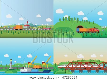 Transportation and delivery concept. Flat isomery vector illustration.