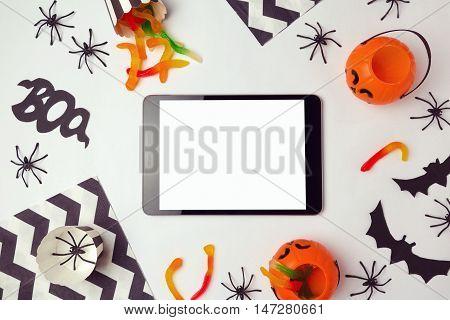 Tablet mock up template for halloween holiday app presentation