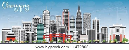 Chongqing Skyline with Gray Buildings and Blue Sky. Vector Illustration. Business Travel and Tourism Concept with Chongqing Modern Buildings. Image for Presentation Banner Placard and Web.