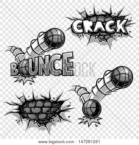 Vector set of monochrome comics icons. Explosion bubbles. Comic book set