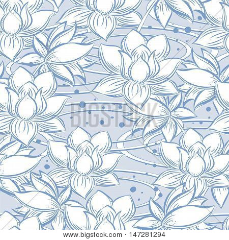 Seamless pattern from Lotus in the water in gentle tones of blue and white color- it is a symbol of purity chastity holiness