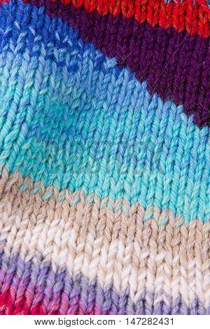 striped colorful wool texture handmade patten closeup macro blue red pink white biege purple