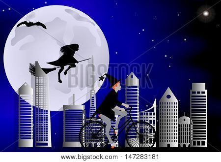 Vector Illustration Of A Witch Riding A Bike Around The City And The Witch Flying On A Broom Over Th