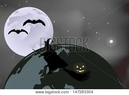 Vector Illustration Of Bats And A Witch With A Pumpkin Flying Over The Globe On A Moonlit Night In H