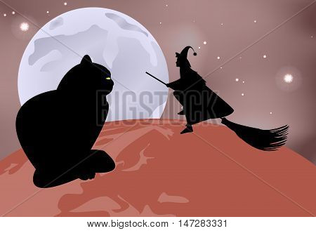 Vector Illustration Of A Black Cat Sitting On The Globe And A Witch Flying Over It On A Moonlit Nigh