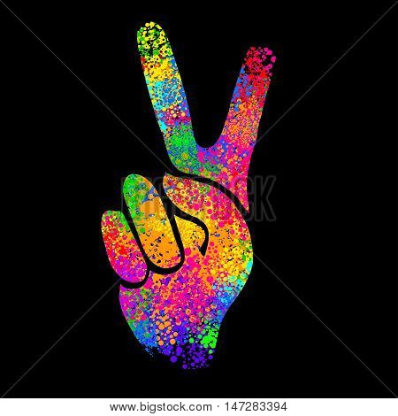hippie symbols two fingers as a sign of victory a sign of Pacific and letterin love and peace. In the style of the '60s' 70s.
