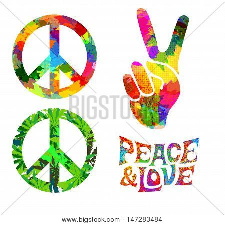 set of Pacifik hippie symbol and words