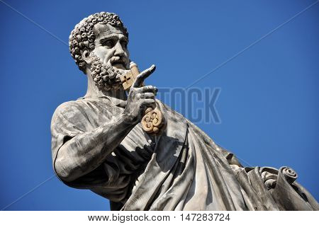 Statue Of Saint Peter In Saint Peter Square. Vatican City