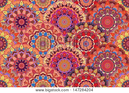 Scales pattern from flower mandalas. Vector floral background, seamless. Elaborate floral ornament for fabric print, furniture, wallpaper, greeting card. Unusual round design elements boho decoration.