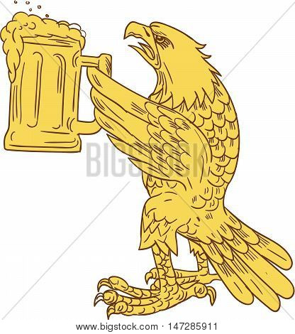 Drawing sketch style illustration of an american bald eagle hoisting beer mug stein viewed from the side set on isolated white background.