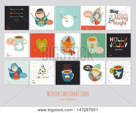 Big set of square winter cards. Merry Cristmas and Happy New 2017 Year background. Cute illustration with kids, animals, cups of tea and holiday typographic. Isolated. Vector