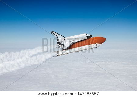 space shuttle taking off to the sky, NASA image not used