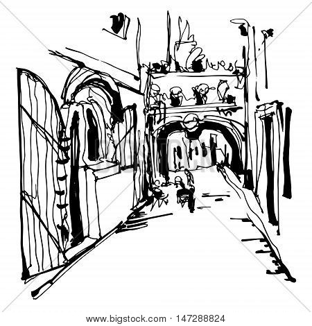 black and white ink sketching of historic narrow cobbled street in Budva Montenegro, old town travel vector illustration
