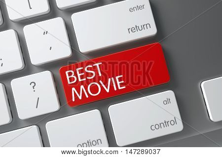 Best Movie Concept: White Keyboard with Best Movie, Selected Focus on Red Enter Key. 3D Illustration.