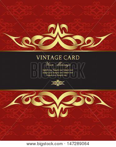 Invitation vintage golden card on red ackground. Vector illustration