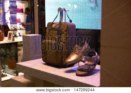 modern fashion shoe and bag display in the shopping mall