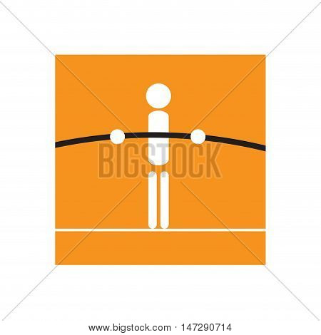 Vector sign tightrope walker balance concept in square