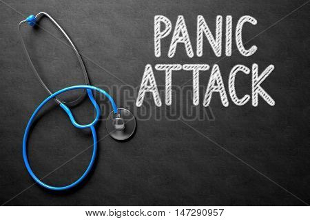 Medical Concept - Panic Attack Handwritten on Black Chalkboard. Top View Composition with Chalkboard and Blue Stethoscope. Medical Concept: Black Chalkboard with Panic Attack. 3D Rendering.
