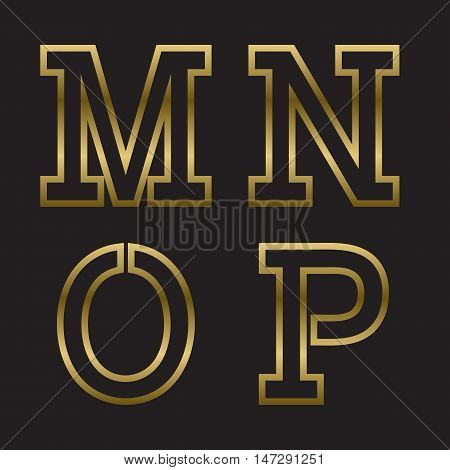 M N O P gold stamped letters. Trendy and stylish golden font.