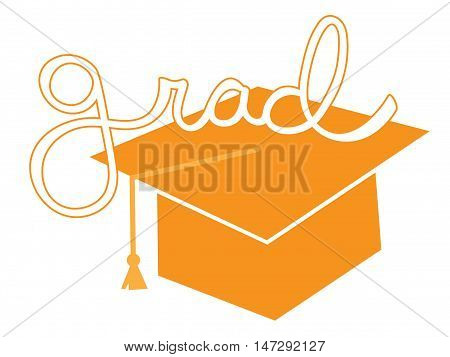Isolated Orange Grad Student Cap and Tassle