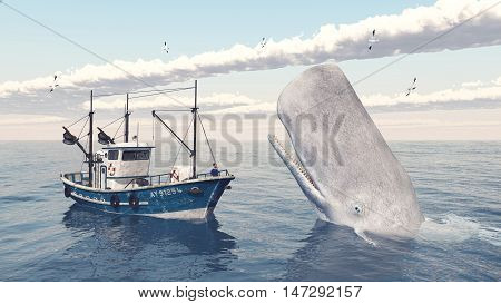 Computer generated 3D illustration with fishing trawler and sperm whale