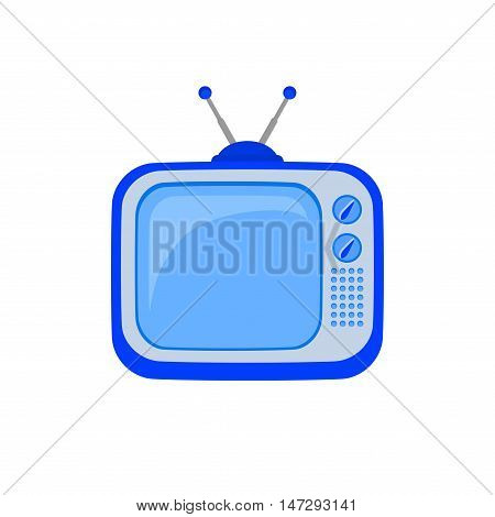 TV icon. Retro tv icon in cartoon style. Television symbol. Display, antenna and video screen