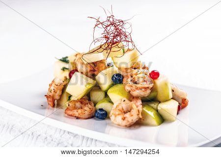 Shrimps with pear salad fine dining meal