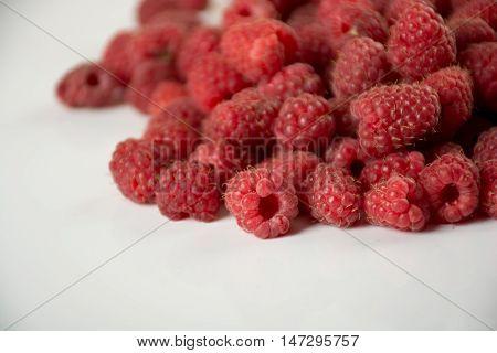 Fresh and sweet rasberry on white background