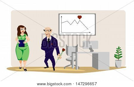 business characters scene office romance vector graphics