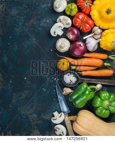 Fall harvest vegetable ingredients for healthy cooking. Tomatoes, onions, mushrooms, carrots, pumpkin, patissons, garlic, spices and knives on dark blue grunge plywood background. Top view, copy space