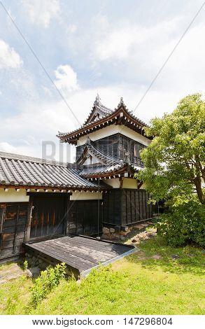 YAMATO KORIYAMA JAPAN - JULY 23 2016: Otehigashisumiyagura Turret of Yamato Koriyama castle Nara Prefecture Japan. Castle was erected in 1580 abandoned in 1873 and partly reconstructed in 1980s