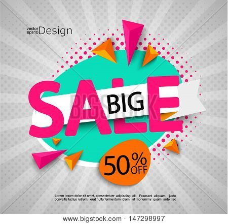 Big sale - bright modern banner with halftone background. Sale and discounts. Vector illustration.